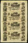 Obsoletes By State:Louisiana, New Orleans, LA- Canal Bank $100-$100-$100-$100 18__ Uncut Sheet Very Fine-Extremely Fine.. ...