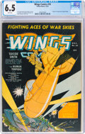 Golden Age (1938-1955):War, Wings Comics #16 (Fiction House, 1941) CGC FN+ 6.5 White pages....