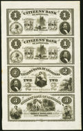 Obsoletes By State:Louisiana, New Orleans, LA- Citizens' Bank of Louisiana $1-$1-$2-$3 18__ Uncut Sheet About Uncirculated.. ...