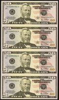 Small Size:Federal Reserve Notes, Fr. 2130-D $50 2006 Federal Reserve Notes. Uncut Sheet of Four. Choice Crisp Uncirculated.. ...