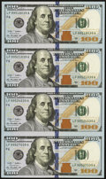 Small Size:Federal Reserve Notes, Fr. 2187-F $100 2009A Federal Reserve Notes. Uncut Sheet of Four. Gem Crisp Uncirculated.. ...