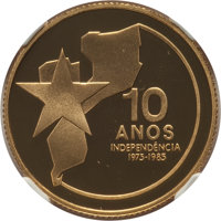 "Mozambique: Republic gold Proof ""Independence Anniversary"" 2000 Meticais 1985 PR70 Ultra Cameo NGC"