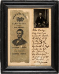 Political:Ribbons & Badges, Abraham Lincoln: Ribbon with Tintype and History of Its Ow...