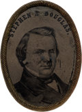 "Political:Ferrotypes / Photo Badges (pre-1896), Stephen A. Douglas: Large ""Belt Buckle"" Ferrotype...."