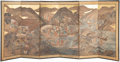 Decorative Accessories, A Chinese Paper and Ebonized Wood Six-Panel Screen, 19th century. 46-3/4 x 108 inches (118.7 x 274.3 cm) (extended). ...
