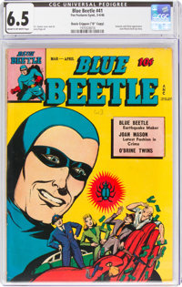 """Blue Beetle #41 Davis Crippen ('D"""" Copy) Pedigree (Fox Features Syndicate, 1946) CGC FN+ 6.5 Cream to off-white pag..."""