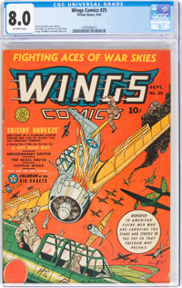 Wings Comics #25 (Fiction House, 1942) CGC VF 8.0 Off-white pages