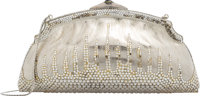 "Judith Leiber Half Bead Silver Crystal Chatelaine Evening Bag Condition: 4 7.5"" Width x 4"" Height x 2.5""..."