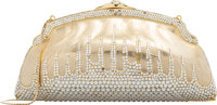 "Judith Leiber Half Bead Silver & Gold Crystal Chatelaine Evening Bag Condition: 4 7.5"" Width x 4"" Height x..."