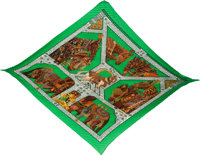 "Hermès Green ""La Danse Du Cheval Marwari"" Plisse Silk Scarf Condition: 1 51"" Length x 22"" Hei..."