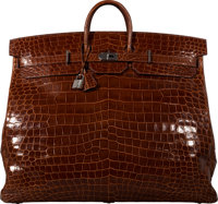 Hermès 60cm Miel Porosus Crocodile Birkin Bag with Palladium Hardware O Square, 2011 Condition: 2