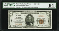 New York, NY - $5 1929 Ty. 1 The National City Bank Ch. # 1461 PMG Choice Uncirculated 64 EPQ.<