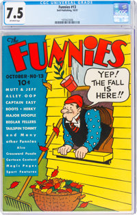 The Funnies #13 (Dell, 1937) CGC VF- 7.5 Off-white pages