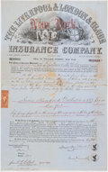 Miscellaneous:Other, Three Insurance Policies Not Graded.. Liverpool & London & Globe $700 1867, edge tears, internal splits, loss of paper;... (Total: 3 items)