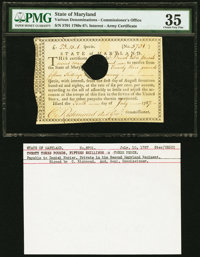 State of Maryland Army Certificate 23 Pounds, 15 Shillings, 1 Penny July 10, 1787 PMG Choice Very Fine 35