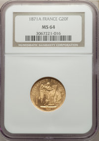 France: Republic gold 20 Francs 1871-A MS64 NGC