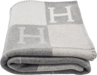 "Hermès Ecru & Gris Clair Avalon Blanket Condition: 1 53"" Width x 67"" Length"