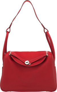 Hermès Limited Edition 34cm Rouge Casaque Clemence Leather & Rose Jaipur Eclat Lindy Bag with Palladium Hardw...