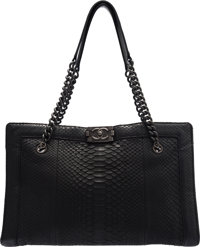 """Chanel Black Python Large Boy Shopper Tote with PVD Hardware Condition: 3 15"""" Width x 9.5"""" Height x 7"""" De..."""