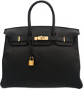 "Luxury Accessories:Bags, Hermès 35cm Black Togo Leather Birkin Bag with Gold Hardware. X, 2016. Condition: 1. 14"" Width x 10"" Height x 7"" D..."