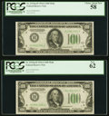 Fr. 2153-H $100 1934A Federal Reserve Notes. Two Examples. PCGS Graded Choice About New 58; New 62. ... (Total: 2 notes)