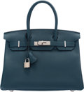 "Luxury Accessories:Bags, Hermès 30cm Cobalt Togo Leather Birkin Bag with Palladium Hardware. T, 2015. Condition: 1. 11.5"" Width x 9.5"" Heig..."