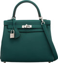 "Luxury Accessories:Bags, Hermès 25cm Malachite Togo Leather Retourne Kelly Bag with Palladium Hardware. Condition: 1. 9.5"" Width x 8"" Height x ..."