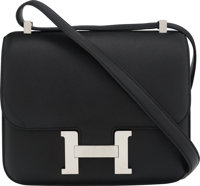 "Hermès 23cm Black Swift Leather Double Gusset Constance Bag with Palladium Hardware X, 2016 Condition: 3 9""..."