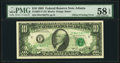 Full Back to Face Offset Error Fr. 2027-F $10 1985 Federal Reserve Note. PMG Choice About Unc 58 EPQ