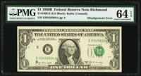 Shifted Third Printing Error Fr. 1905-E $1 1969B Federal Reserve Note. PMG Choice Uncirculated 64 EPQ
