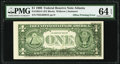 Error Notes:Offsets, Partial Face to Back Offset Error Fr. 1924-F $1 1999 Federal Reserve Note. PMG Choice Uncirculated 64 EPQ.. ...