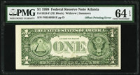 Partial Face to Back Offset Error Fr. 1924-F $1 1999 Federal Reserve Note. PMG Choice Uncirculated 64 EPQ