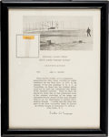 Transportation:Aviation, Kitty Hawk Wright Flyer: Piece of Original Fabric on a Presentation Certificate. ...