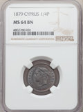 Cyprus:British Colony, Cyprus: British Colony. Victoria 1/4 Piastre 1879 MS64 Brown NGC,...