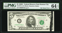 Black Ink Smear on Face Error Fr. 1972-J $5 1969C Federal Reserve Note. PMG Choice Uncirculated 64 EPQ