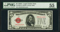 Fr. 1526 $5 1928A Legal Tender Note. PMG About Uncirculated 55