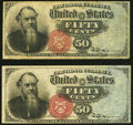 Fr. 1376 50¢ Fourth Issue Stanton Two Examples Very Fine or Better. ... (Total: 2 notes)