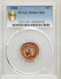 1908 1C MS66+ Red PCGS. PCGS Population: (98/3 and 20/0+). NGC Census: (34/3 and 3/0+). CDN: $1,250 Whsle. Bid for NGC/P...