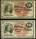 Two Fr. 1267 15¢ Fourth Issues Extremely Fine. ... (Total: 2 notes)