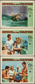 """Movie Posters:Horror, Revenge of the Creature (Universal International, 1955). Fine/Very Fine. Lobby Cards (3) (11"""" X 14""""). Reynold Brown Artwork.... (Total: 3 Items)"""