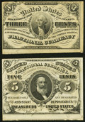 Fractional Currency:Third Issue, Fr. 1226 3¢ Third Issue Extremely Fine;. Fr. 1239 5¢ Third Issue About New.. ... (Total: 2 notes)