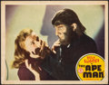 "Movie Posters:Horror, The Ape Man (Monogram, 1943). Fine/Very Fine. Lobby Card (11"" X 14""). Horror.. ..."