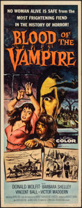 "Movie Posters:Horror, Blood of the Vampire (Universal International, 1958). Rolled, Fine/Very Fine. Insert (14"" X 36""). Joseph Smith Artwork. Horr..."