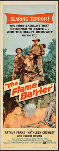 "Movie Posters:Science Fiction, The Flame Barrier & Other Lot (United Artists, 1958). Folded, Very Fine-. Insert (14"" X 36"") & Lobby Cards (2) (11"" X 14""). ... (Total: 3 Items)"