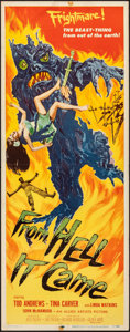 "Movie Posters:Horror, From Hell It Came (Allied Artists, 1957). Folded, Fine+. Insert (14"" X 36""). Horror.. ..."
