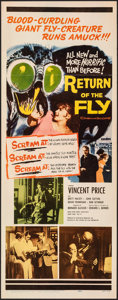 "Movie Posters:Science Fiction, Return of the Fly (20th Century Fox, 1959). Folded, Very Fine. Insert (14"" X 36""). Science Fiction.. ..."