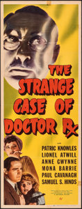 """Movie Posters:Mystery, The Strange Case of Doctor Rx (Universal, 1942). Folded, Fine/Very Fine. Insert (14"""" X 36""""). Mystery.. ..."""