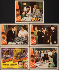 """Strange Confession (Universal, 1945). Very Fine-. Title Lobby Card & Lobby Cards (4) (11"""" X 14""""). Horr..."""