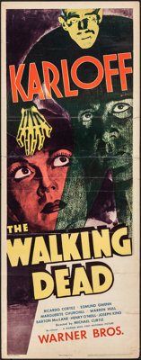 "The Walking Dead (Warner Bros., R-1942). Folded, Fine. Insert (14"" X 36""). Horror"
