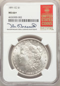 Morgan Dollars: , 1891-CC $1 MS66+ NGC. Pop (10/1), CDN Collector Price ($18200.00), CCDN Price ($10800.00), Trends ($20000.00), CAC (9/0)